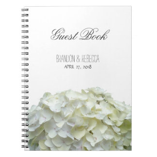 White Wedding Hydrangea Flowers Guestbook Notebook