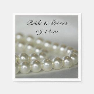 White Wedding Pearls Disposable Napkins