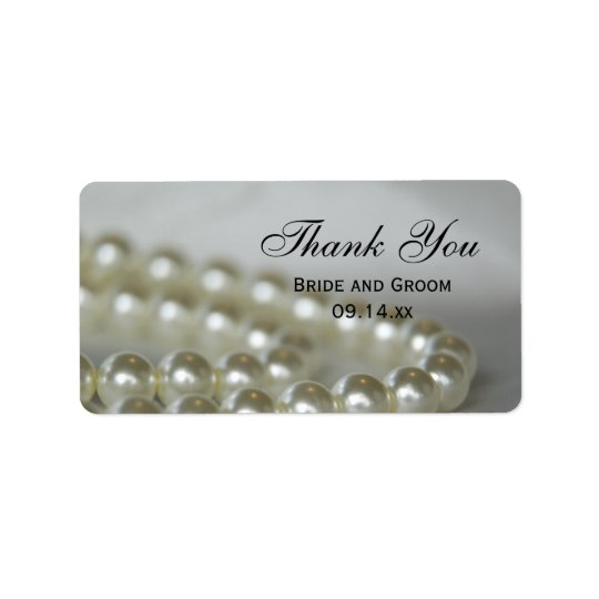 White Wedding Pearls Thank You Favour Tags