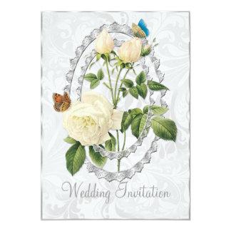 White Wedding Rose Posy Wedding Invitation Card