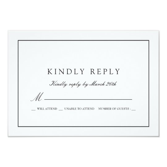 White Wedding RSVP Card