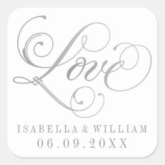 White Wedding Stickers | Love in Silver Script