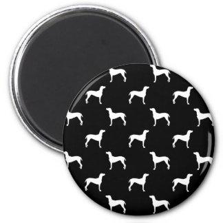 White Weimaraner Silhouettes on Black Background 2 Inch Round Magnet