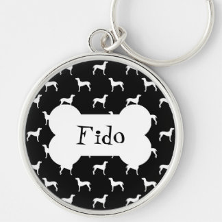 White Weimaraner Silhouettes on Black Background Silver-Colored Round Keychain