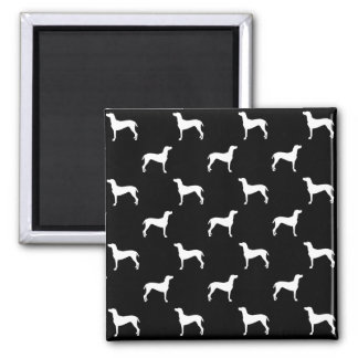 White Weimaraner Silhouettes on Black Background Square Magnet