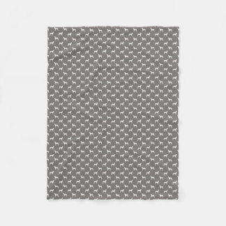 White Weimaraner Silhouettes On Grey Fleece Blanket