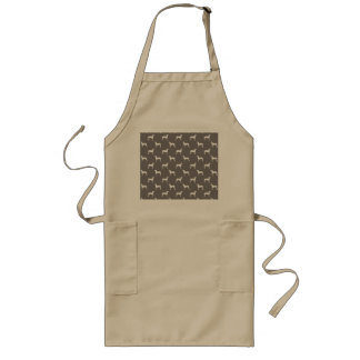 White Weimaraner Silhouettes On Grey Long Apron