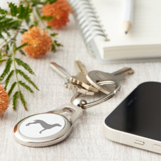 White Weimaraner Silhouettes On Grey Silver-Colored Oval Keychain
