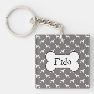 White Weimaraner Silhouettes On Grey Single-Sided Square Acrylic Keychain