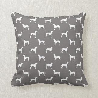 White Weimaraner Silhouettes On Grey Throw Pillow