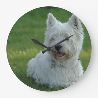 White West Highland Terrier Large Clock