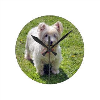 White West Highland Terrier Round Clock