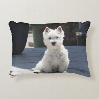 White West Highland Terrier Sitting on Sidewalk Accent Pillow