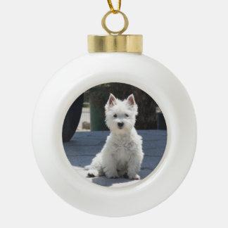 White West Highland Terrier Sitting on Sidewalk Ceramic Ball Christmas Ornament