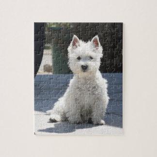 White West Highland Terrier Sitting on Sidewalk Jigsaw Puzzle