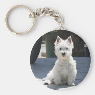 White West Highland Terrier Sitting on Sidewalk Keychain