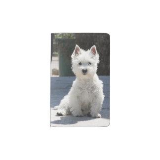 White West Highland Terrier Sitting on Sidewalk Pocket Moleskine Notebook
