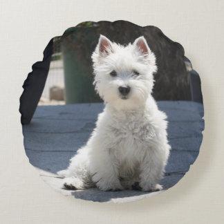 White West Highland Terrier Sitting on Sidewalk Round Pillow