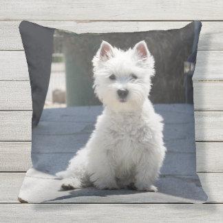White West Highland Terrier Sitting on Sidewalk Throw Pillow
