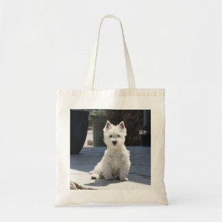 White West Highland Terrier Sitting on Sidewalk Tote Bag