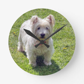 White West Highland Terrier Wall Clock