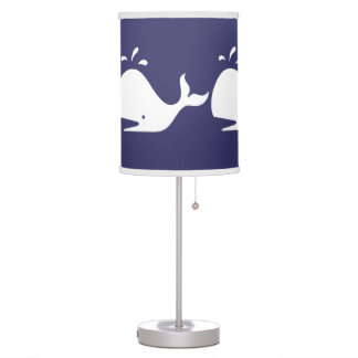 White WHALE on blue background Table Lamp