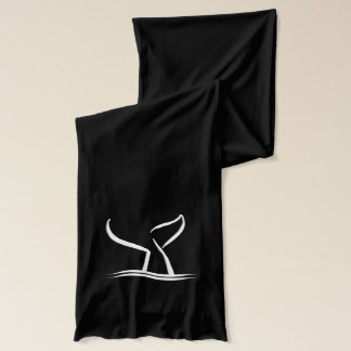 White Whale Tail on Black Scarf