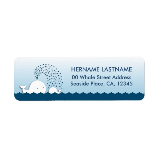 White Whales Baby Shower Return Address Labels