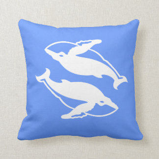 white whales  on  blue pillow