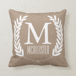 White Wheat Laurels Burlap - Personalized Throw Pillow
