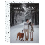 "White Whimsical Script Photo Save The Date 5"" X 7"" Invitation Card"