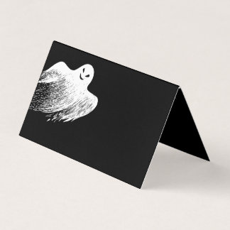 White Whispy Ghost Happy Halloween Place Card