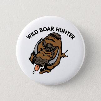 White Wild Boar Hunter 2 Inch Round Button