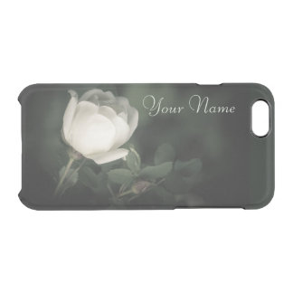 White Wild Rose on a Dark Background. Your Text. Clear iPhone 6/6S Case