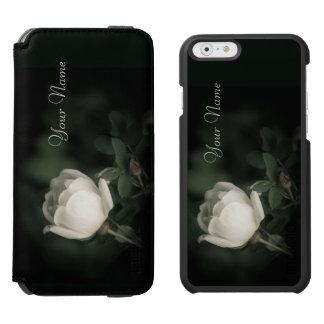 White Wild Rose on a Dark Background. Your Text. Incipio Watson™ iPhone 6 Wallet Case