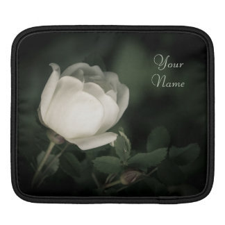 White Wild Rose on a Dark Background. Your Text. iPad Sleeve