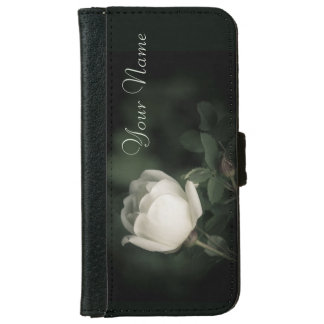 White Wild Rose on a Dark Background. Your Text. iPhone 6 Wallet Case