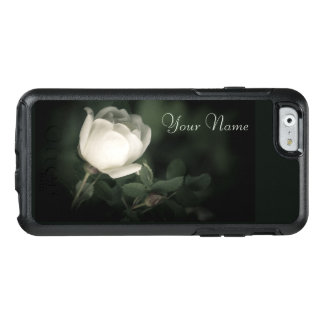 White Wild Rose on a Dark Background. Your Text. OtterBox iPhone 6/6s Case