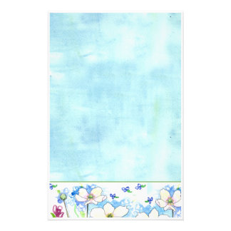 White Wildflower Blue Watercolor Wash Stationery
