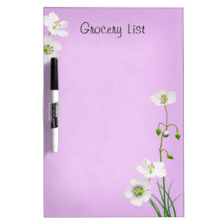 White Wildflower Reminder List Dry Erase Board