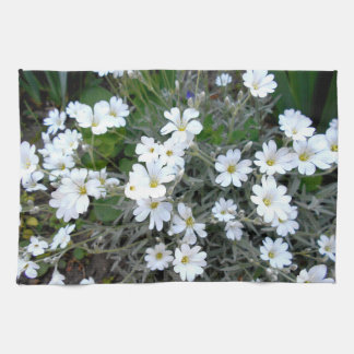 White Wildflowers Kitchen Towel