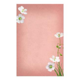 White Wildflowers on Burgundy Wedding Stationery Design