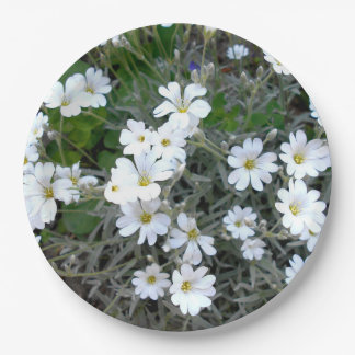 White Wildflowers Paper Plate