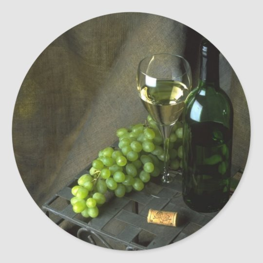 White Wine and Green Grapes Stickers