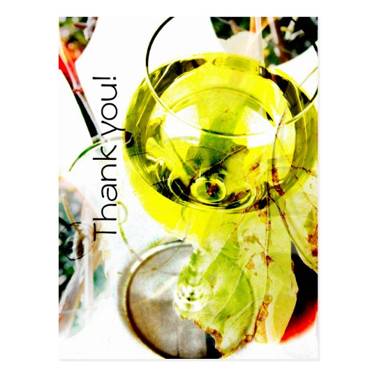white wine glass modern collage thank you postcard