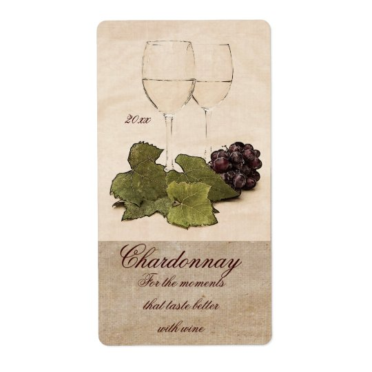 white wine glasses with grapes wine label