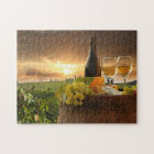 White Wine With Barrel On Vineyard In Chianti Jigsaw Puzzle