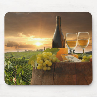 White Wine With Barrel On Vineyard In Chianti Mouse Pad