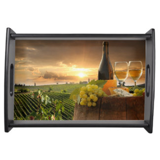 White Wine With Barrel On Vineyard In Chianti Service Trays