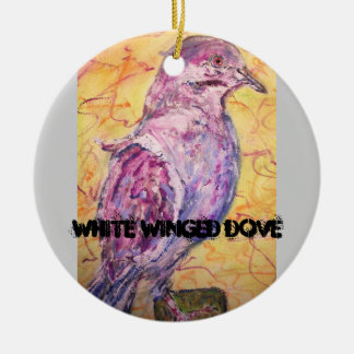 White-winged Dove art Double-Sided Ceramic Round Christmas Ornament